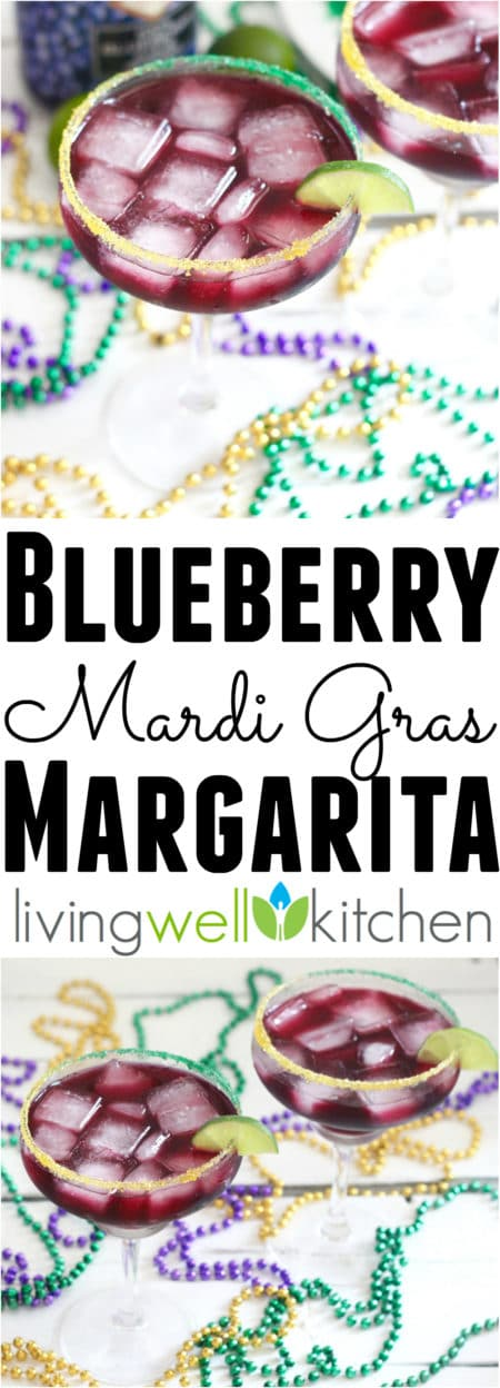 This simple Blueberry Margarita recipe from @memeinge only needs four ingredients for a festive and fruity margarita perfect for celebrating Mardi Gras, Margarita Day, or any day! Great cocktail for one or can easily be multiplied to serve more at a party