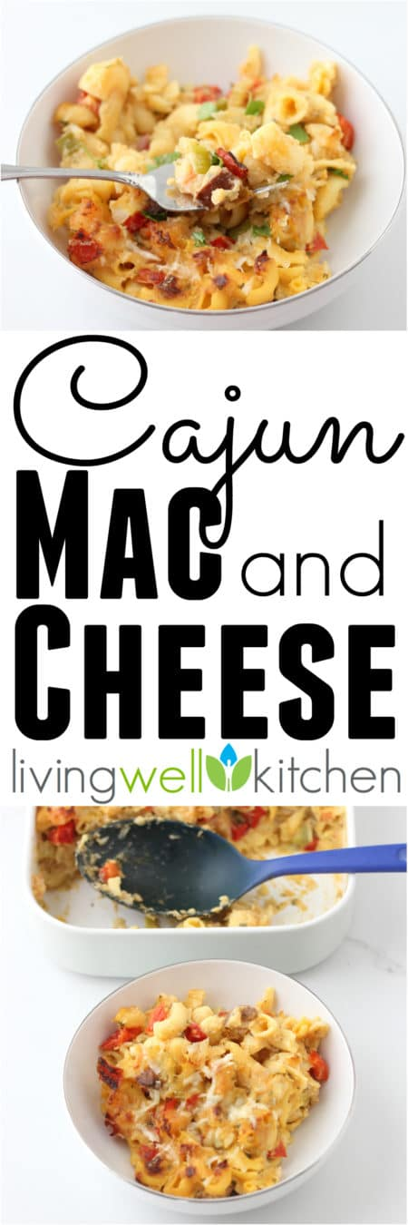 Liven up your macaroni and cheese with spices, sausage, and shrimp in this deliciously cheesy, gluten free Cajun Mac and Cheese recipe from @memeinge. Tasty and healthy pasta dinner idea!