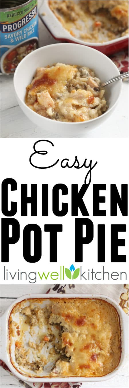 "ad: Easy Chicken Pot Pie recipe from @memeinge made with Progressoâ""¢ Reduced Sodium Savory Chicken and Wild Rice Soup for flavorful comfort food without weird ingredients. Tasty dinner with very little effort required and made in one casserole dish"