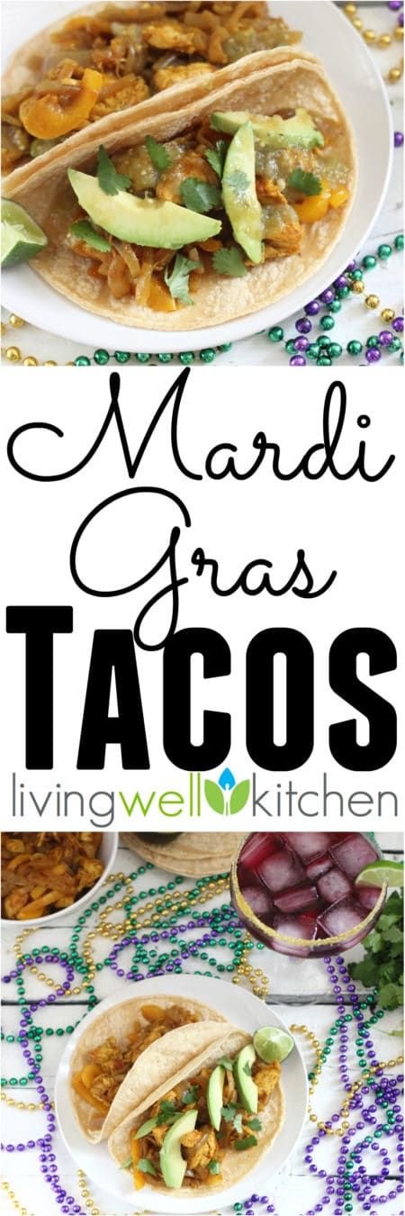 Curry Cajun Chicken Tacos, also known as Mardi Gras Tacos, from @memeinge are spicy but a little bit sweet and topped with cooling avocado for a satisfying & delicious meal. This gluten free, dairy free recipe is a great idea for a party because you can make ahead of time and double the recipe. Leftovers are tasty, too!