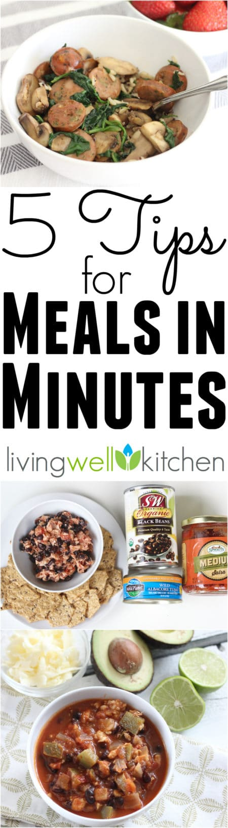 5 Tips for Meals in Minutes from @memeinge, so you don't have to spend hours in the kitchen to make a nourishing meal. Plus, get the free eBook with tips, recipes, and shopping lists!