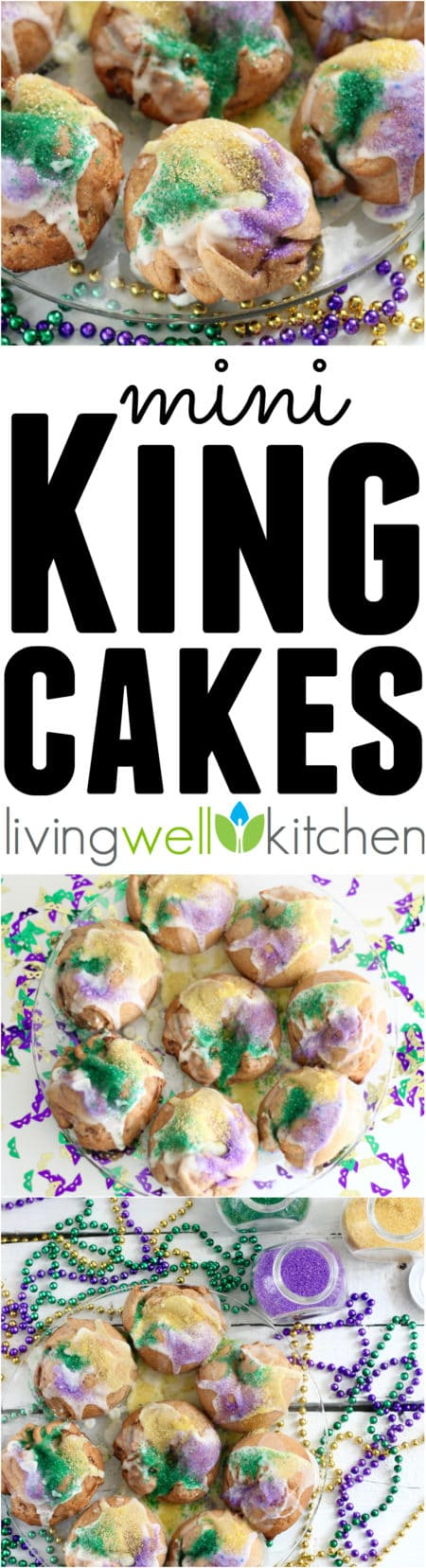 Celebrate Mardi Gras with your own personal Mini King Cake recipe from @memeinge. These whole grain king cakes have less butter and sugar than most but are just as delicious! Perfect idea for a Carnival party! Includes a how to video