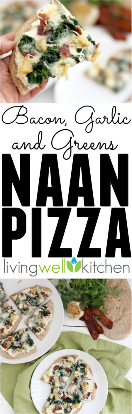 This Bacon, Garlic and Greens Naan Pizza from @memeinge is a three cheese covered piece of naan topped with roasted garlic, bacon, and greens for a flavor explosion you'll love! Great recipe idea for a veggie-filled lunch or light dinner