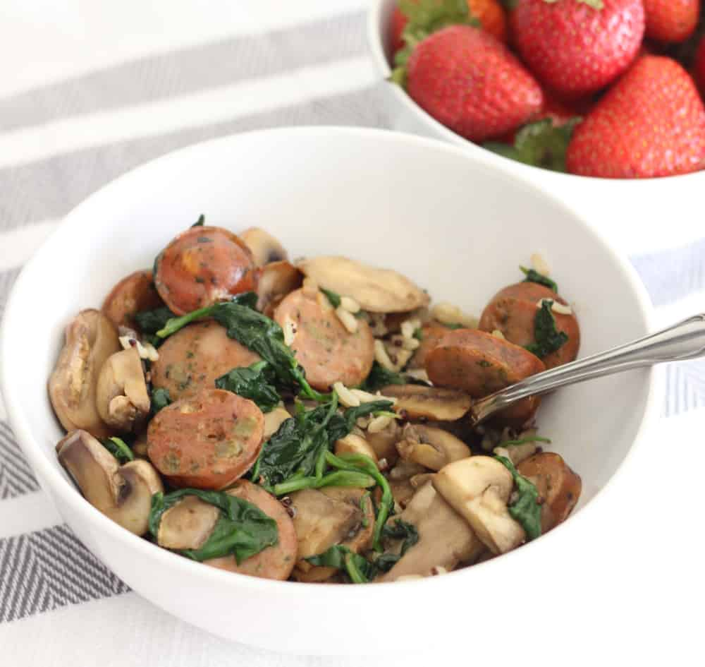 Sausage Mushrooms Spinach Skillet from Living Well Kitchen