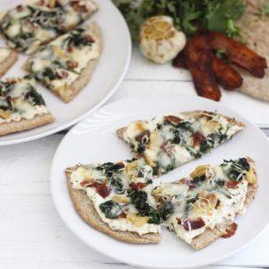 Bacon, Garlic, and Greens Naan Pizza
