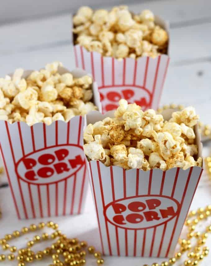 popcorn cartons with Cheezy Taco Popcorn