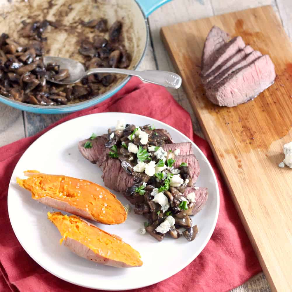Steak with Blue Cheese Mushroom Sauce