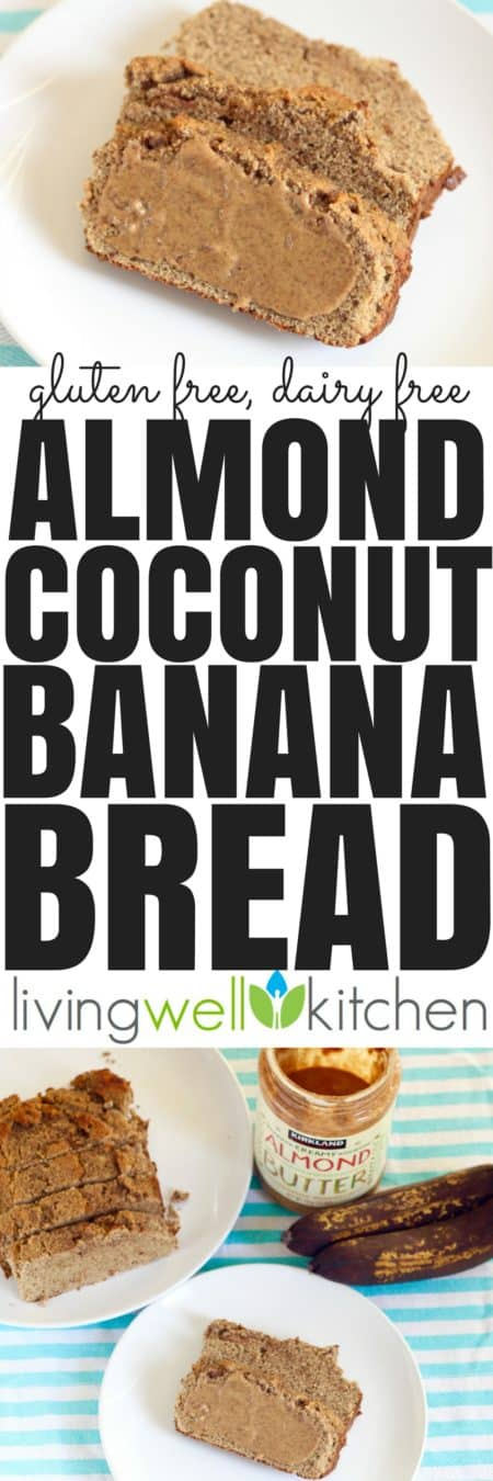 This Almond Butter Coconut Banana Bread recipe from @memeinge is a delicious way to use those overripe bananas sitting on your counter. Plus, this banana bread great for breakfast, snacks or even dessert is filling, gluten free, dairy free and has no added sugar.