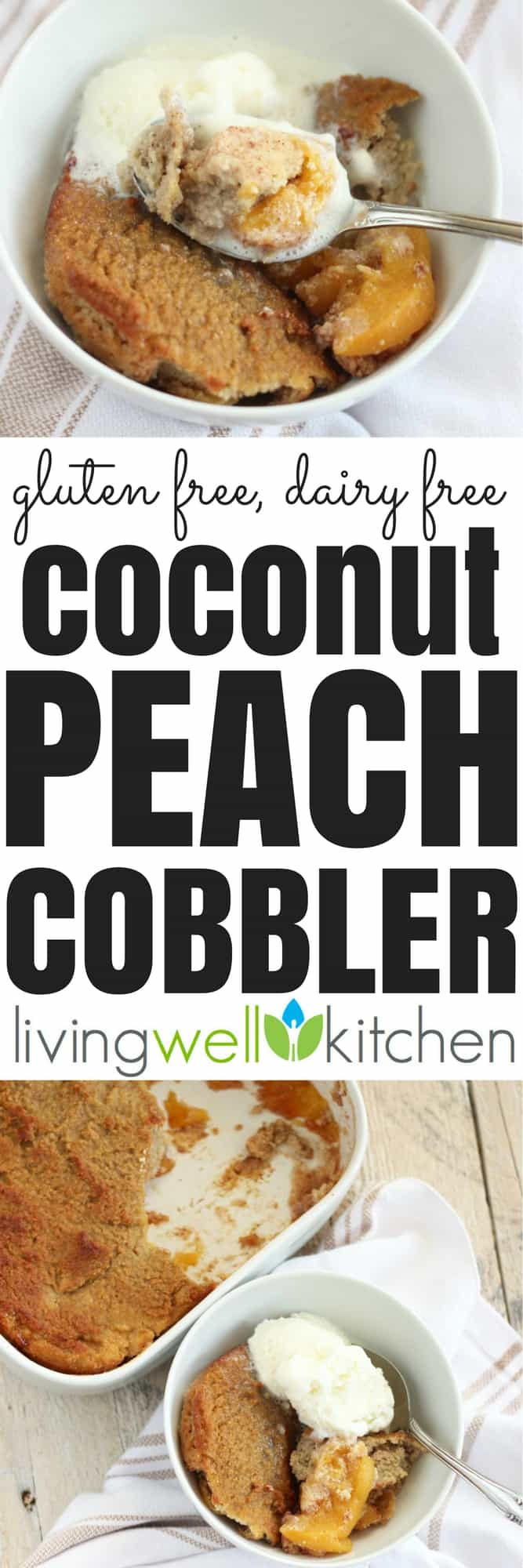 A gluten free, dairy free Coconut Peach Cobbler recipe made with nourishing ingredients that won't give you that dreaded sugar crash. Sweetened only with maple syrup, this dessert will leave your sweet craving satisfied without feeling sick