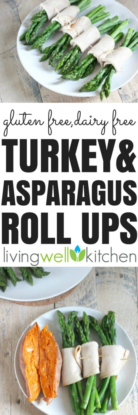 Turkey and Asparagus Roll Ups from @memeinge is an easy, two ingredient recipe that is gluten free, dairy free, and can be eaten as a snack, appetizer or light meal.
