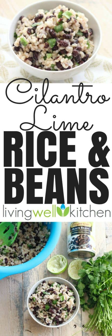 Cilantro Lime Rice and Beans recipe from @memeinge is an easy side dish with only a few, budget friendly ingredients. Perfect pair for tacos, enchiladas, eggs, margaritas, anything! Gluten free, dairy free and vegan