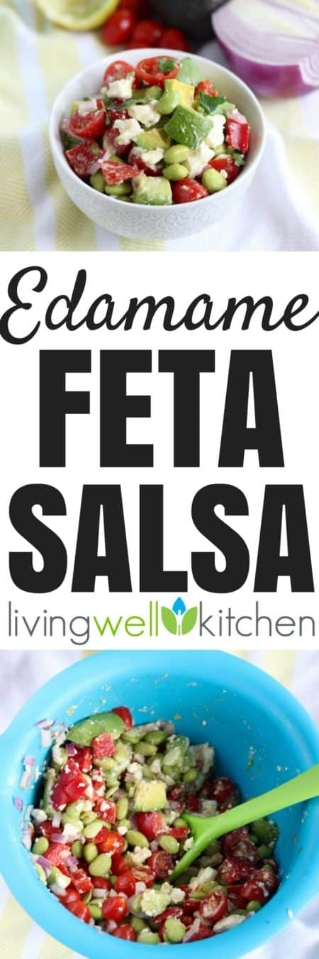 This veggie and protein packed Edamame Feta Salsa from @memeinge is a delicious, crowd-pleasing snack topping, or appetizer. Great vegetarian, gluten free recipe for a party or just to keep in the fridge for a nutritious addition to meals and snacks