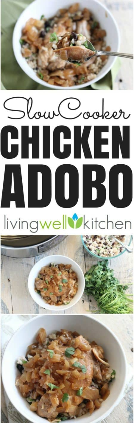 Saucy and delicious Slow Cooker Chicken Adobo recipe from @memeinge couldn't be easier thanks to your Crock Pot. A tasty Filipino dinner that isn't your typical boring chicken dish. Serve over rice for a tasty, crowd-pleasing, gluten free meal