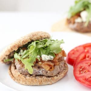 Blue Cheese, Caramelized Onion, Arugula Burger