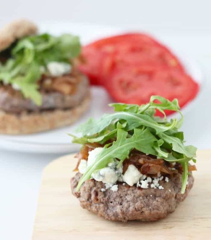 Blue Cheese, Caramelized Onion and Arugula Burger from Living Well Kitchen