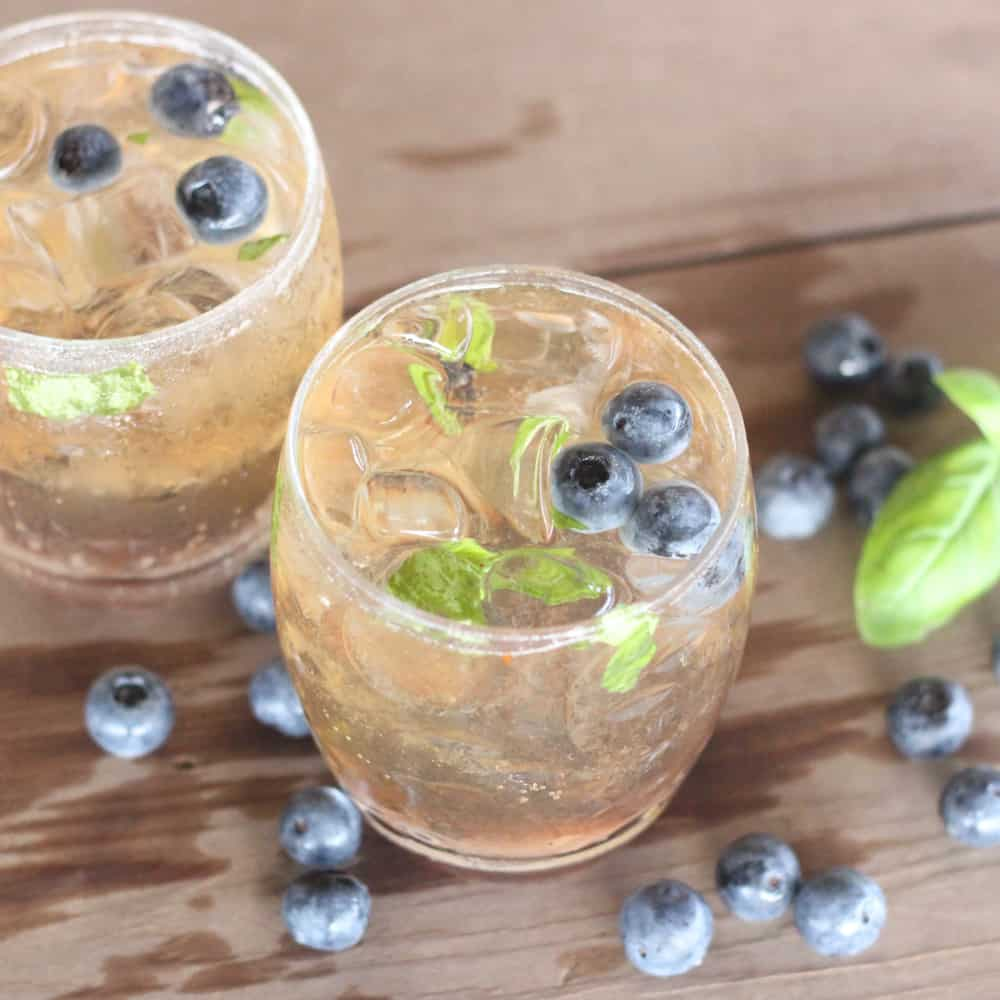 Blueberry Basil Bourbon Cocktail from Living Well Kitchen