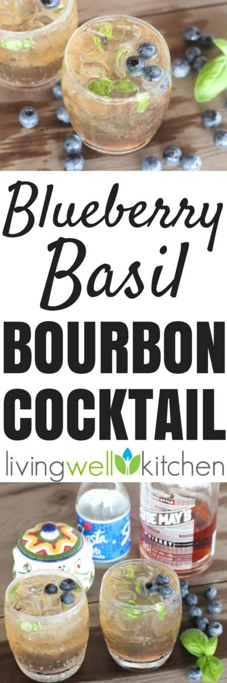 Blueberry Basil Bourbon Cocktail photo collage