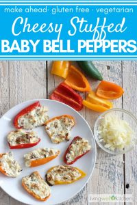 Cheesy Stuffed Baby Bell Peppers on a plate with cheese and baby bell peppers