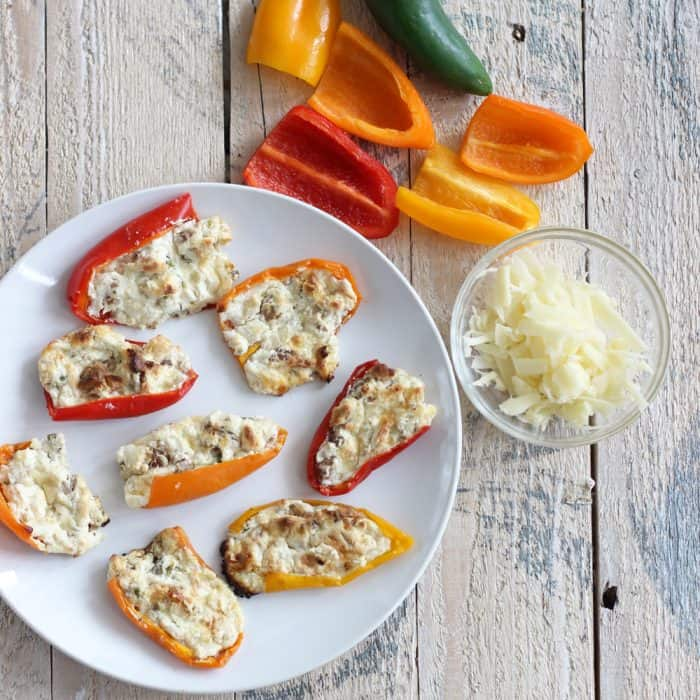 Cheesy Stuffed Baby Bell Peppers with jalapeños, baby bell peppers, grated cheese