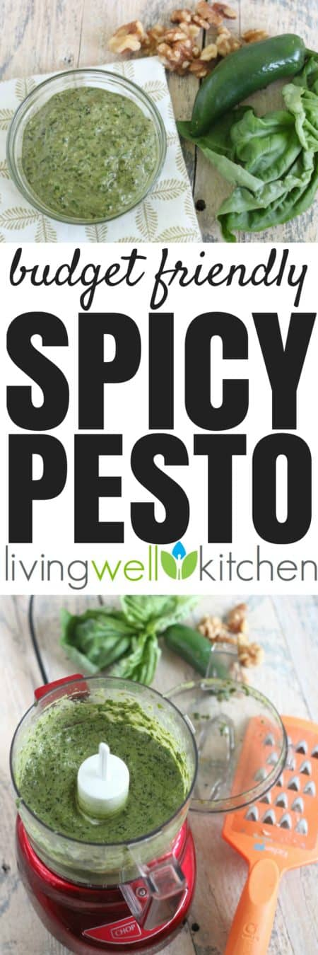 Spicy Pesto recipe from @memeinge uses budget friendly ingredients, so you can enjoy this flavorful sauce that adds excitement to your meals without breaking the bank. Gluten free, vegetarian recipe that helps prevent food waste. Freezes well