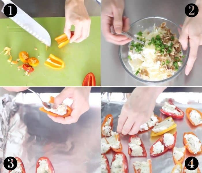 steps to make stuffed bell peppers: knife slicing bell peppers, stirring cheese mixture together, putting cheese mixture into bell pepper halves, placing the stuffed bell peppers on baking sheet
