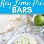 key lime pie bar on small plate with key limes, tin foil, and cashews