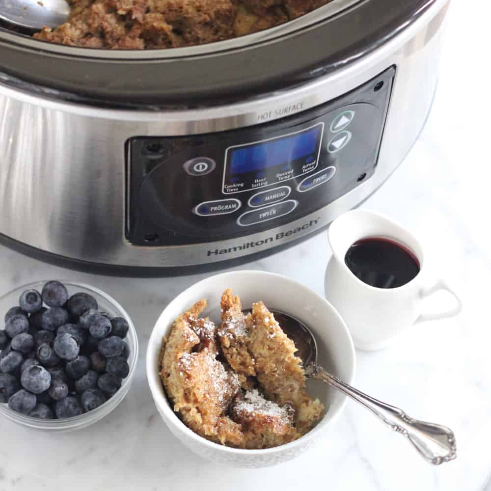 Slow Cooker with French Toast Casserole syrup and blueberries