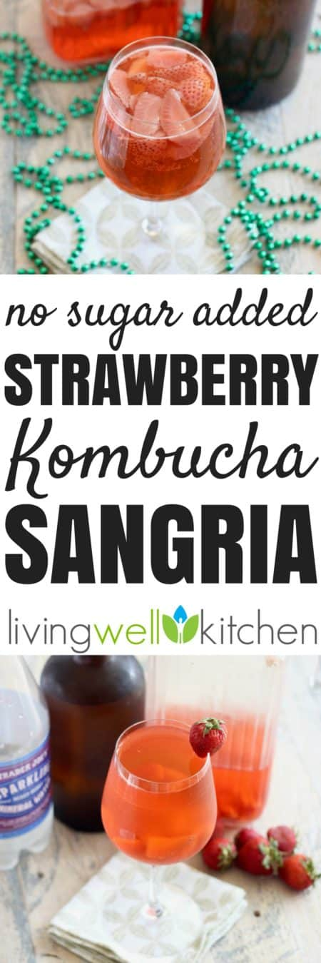 This Strawberry Kombucha Sangria from @memeinge is a bubbly boozy beverage filled with probiotics and made with only 4 simple ingredients andno added sugar. Gluten free, vegan recipe great for parties