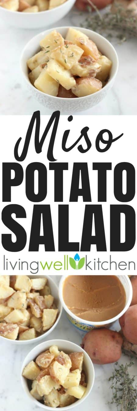 This vegan Miso Potato Salad recipe from @memeinge is a probiotic-filled side dish that can be made ahead or served immediately. Gluten free, dairy free, vegetarian