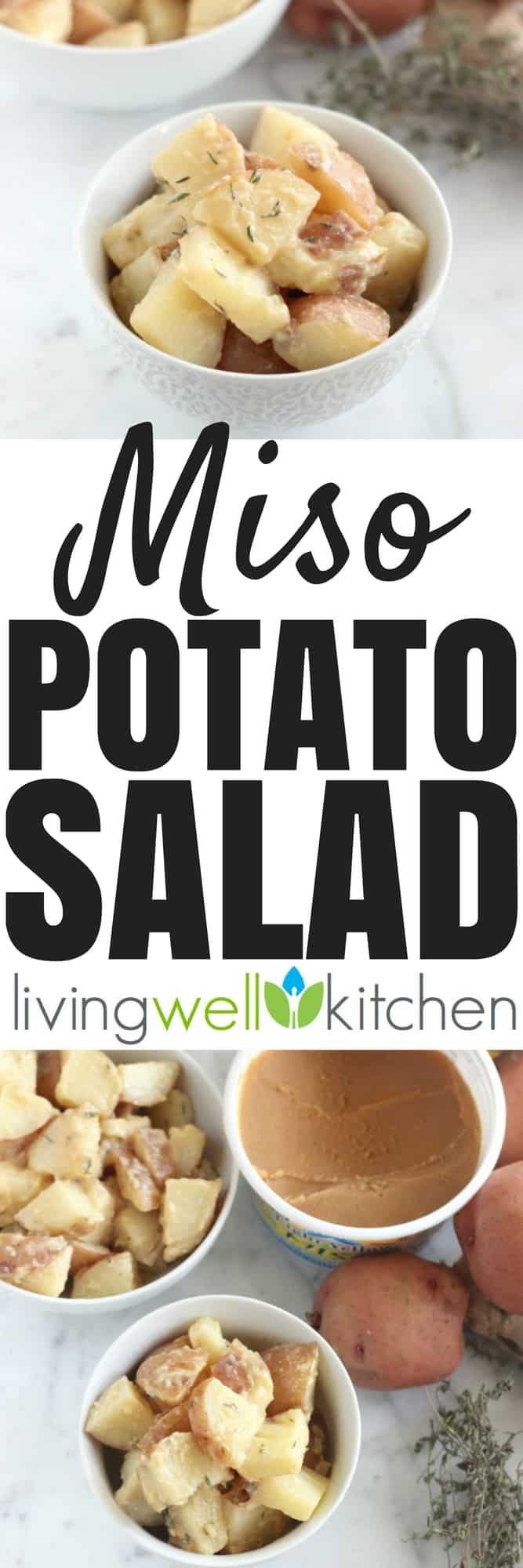 This vegan Miso Potato Salad recipe is a probiotic-filled side dish that can be made ahead or served immediately. Gluten free, dairy free, vegetarian