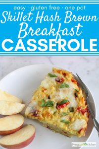 apple slices and hash brown breakfast casserole on white plate