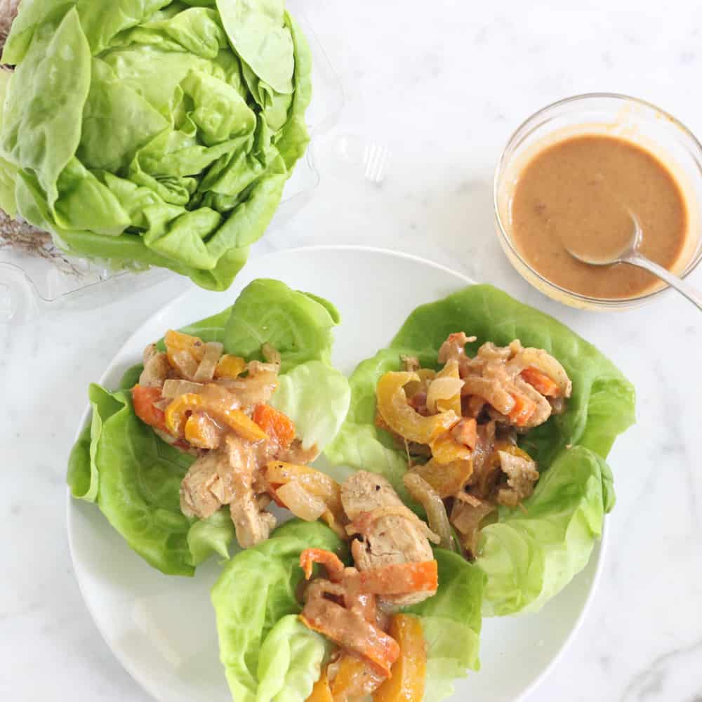 Peanutt Chicken Lettuce Wraps from Living Well Kitchen