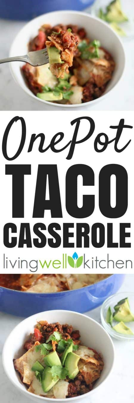 One Pot Taco Casserole from @memeinge is a cheesy and filling taco casserole cooked in one pot, meaning easy clean up for a meal full of veggies and flavor. Gluten free dinner recipe can easily be made dairy free and/or vegetarian