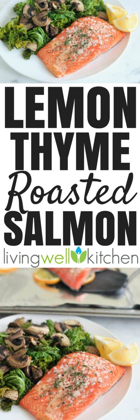 This six ingredient salmon recipe is ready in less than 20 minutes and couldn't be much easier. Make it a meal and serve with a side of veggies and starch. Lemon Thyme Roasted Salmon from @memeinge is gluten free and dairy free