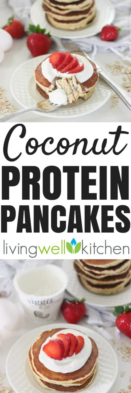 No need for a blender to enjoy these easy, gluten free Coconut Protein Pancakes made with @siggisdairy coconut skyr for a delicious, high protein, lower sugar, coconutty breakfast. Great recipe from @memeinge for a quick morning meal or even a tasty breakfast for dinner. Can also be made ahead of time. #dailysiggis #partner