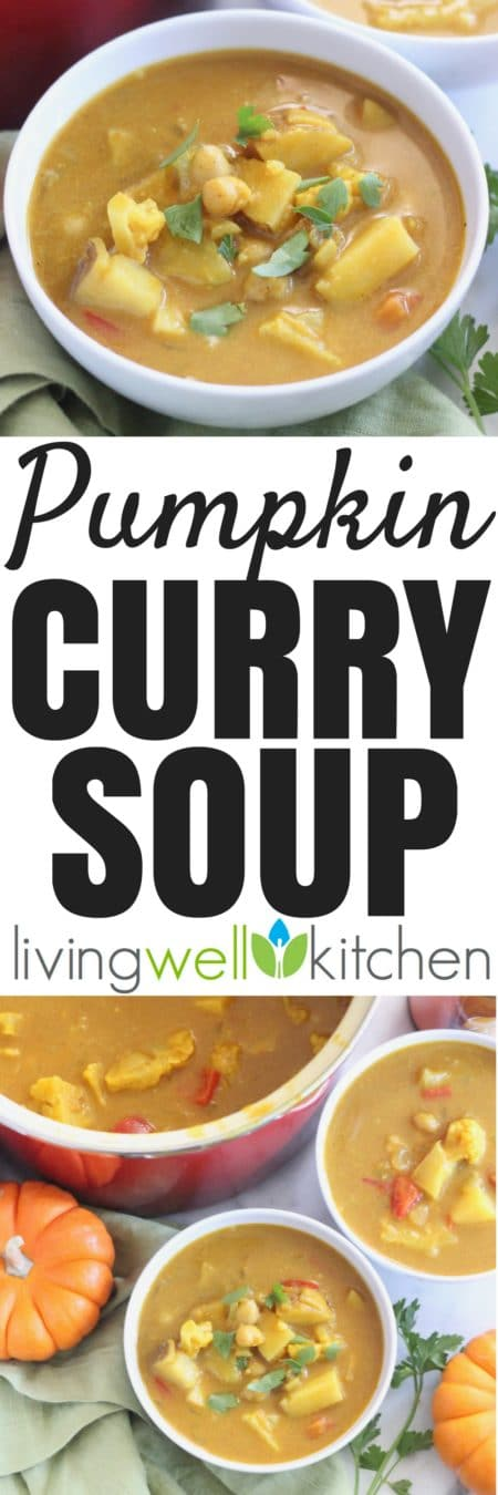 Embrace the fall season with this delicious Pumpkin Curry Soup full of veggies, fiber, and nutrients. Dairy free, gluten free, vegan/vegetarian recipe from @memeinge