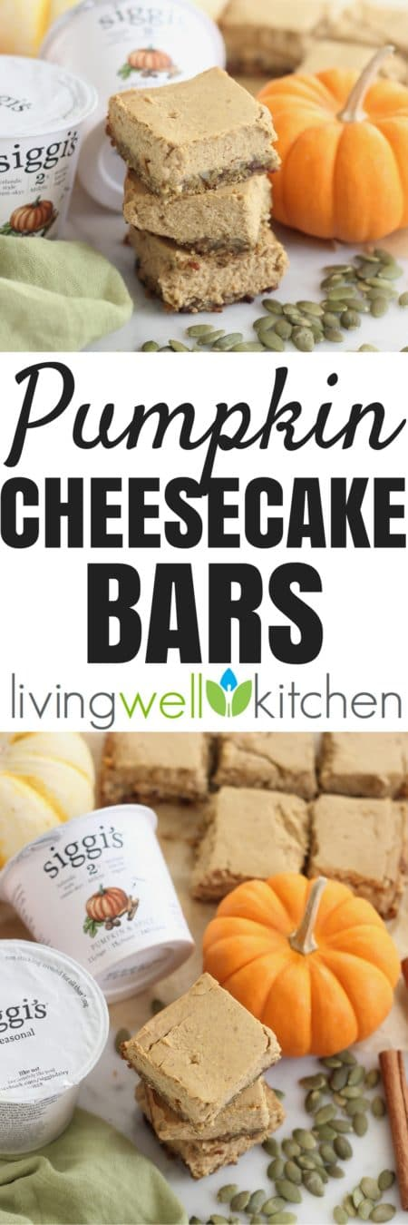 These gluten free, nut free pumpkin cheesecake bars from @memeinge will make your fall-loving tastebuds sing and are full of pumpkin flavor and protein with lower sugar thanks to @siggisdairy pumpkin & spice yogurt. Great for a make-ahead fall or Thanksgiving dessert or snack. #dailysiggis #partner