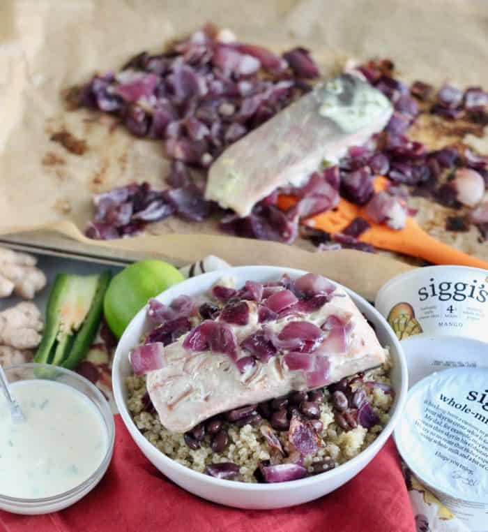 Salmon with Mango Yogurt Sauce from Living Well Kitchen