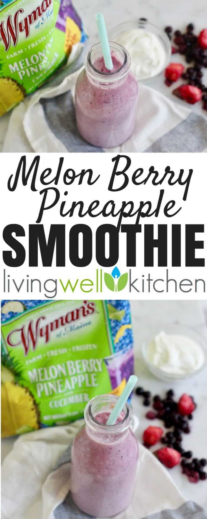 You need three ingredients and less than three minutes to make these refreshingly scrumptious smoothies thanks to the Wyman's Melon Berry Pineapple with Cucumber smoothie blend. Melon Berry Pineapple Smoothie recipe from @memeinge is gluten free and can be dairy free and vegan.