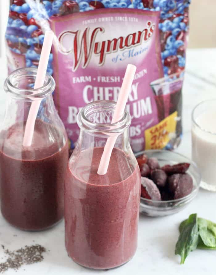 Chocolate Cherry Berry Plum Smoothie from Living Well Kitchen