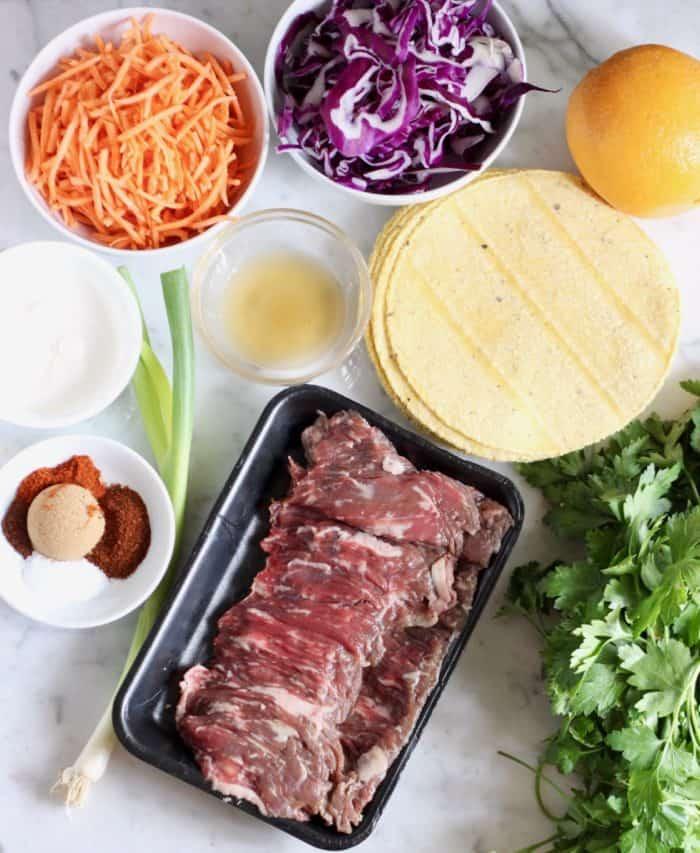 ingredients to make BBQ skirt steak tacos
