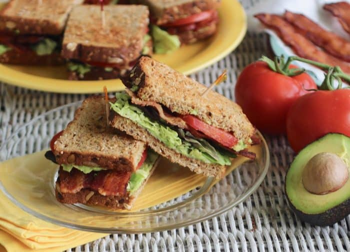 close up of cut Avocado BLT sandwich