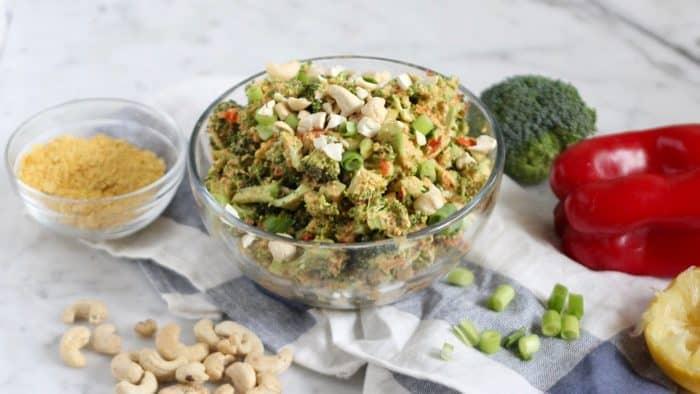 raw vegan cheesy broccoli salad