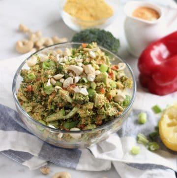 raw vegan broccoli salad with ingredients to make it