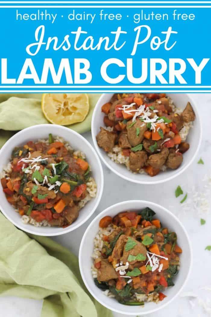 three bowls of lamb curry