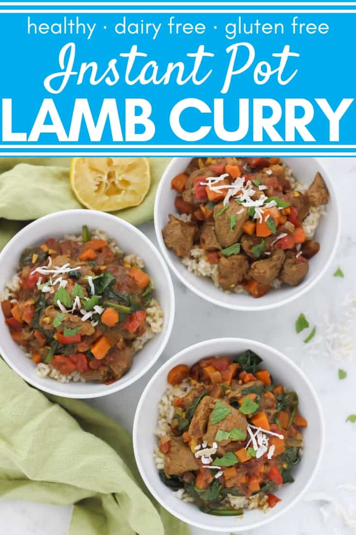 This simple Instant Pot Lamb Curry has warming spices, nourishing lamb, and nutrient-rich veggies. It'll make you feel good from the inside out. Plus, it's easy to prepare and thanksto a pressure cooker, you can have dinner ready in less than an hour. Use leg of lamb or lamb shoulder to make this comforting, immune boosting meal; gluten free, dairy free, healthy recipe. #instantpotlamb #lambrecipes