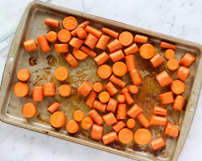 baking sheet of roasted carrots