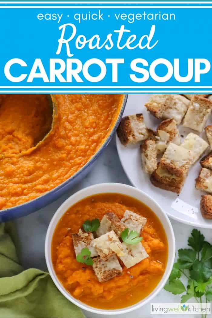 bowl of carrot soup with parmesan croutons on top