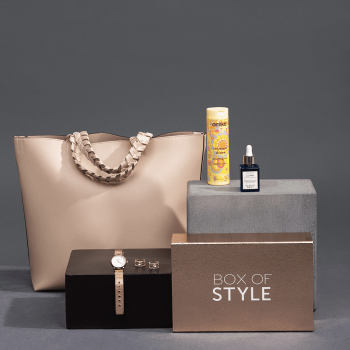 watch, bag, hair balm, face oil, ring from Box of Style