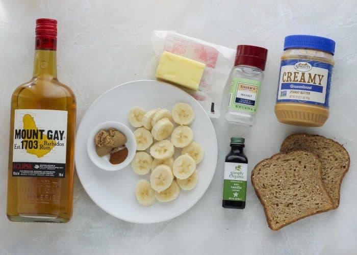 rum, cinnamon, brown sugar, sliced bananas, butter, salt, vanilla, peanut butter, bread